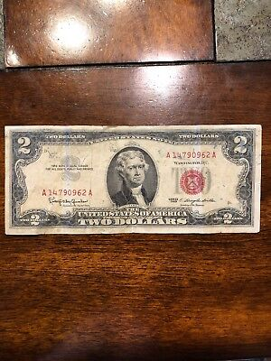 1963 Two Dollar $2 Bill  *Red Seal* United States Currency
