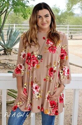 Plus Size Taupe Mocha Pink Floral Bell Sleeve Pockets Tunic Usa 1X 2X 3X True
