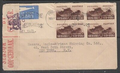 South Africa Censored Cover to USA With War Effort 4x1s   Ref0219