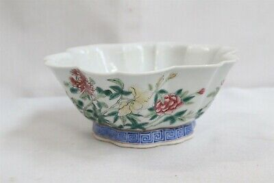 19c Chinese Porcelain Lotus butterflies Flowers Famille Rose Bowl Signed WOW