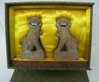 """Chinese Ceramic Foo Guardian Lion Dog Pair Traditional Asian 5"""" x 3"""""""