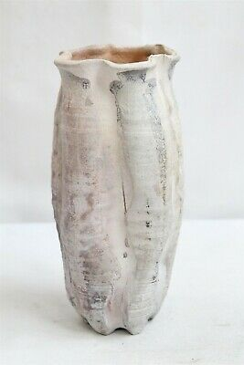MCM Organic Crimped Grey Double Rim Studio Pottery vase Signed Eames Era