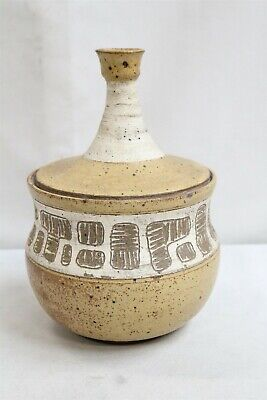 MCM Ed Shrock Op Pop Art Graffiti Wood Fired Lidded Studio Pottery Jar Eames Era