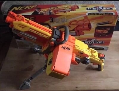 Nerf Havok  Fire EBF-25 N-strike Gun Blaster Ammo Darts Belt Stand Batteries