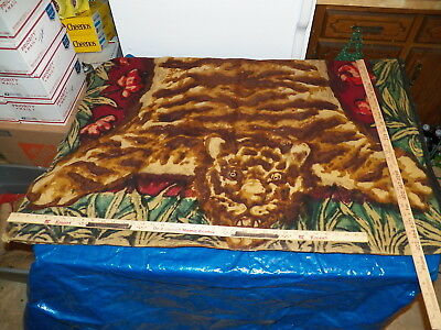 "Vintage Wool Blanket with Tiger Skin Pattern & Glass Eyes - Approx. 60""x 45"""