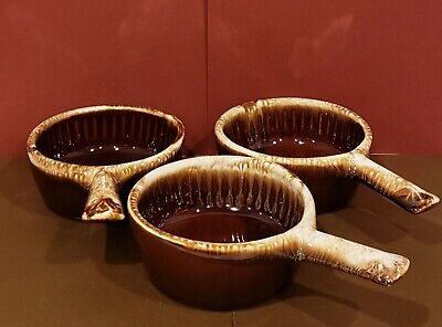3 VINTAGE McCoy - 874 - BROWN DRIP BOWLS WITH HANDLES - MADE IN USA