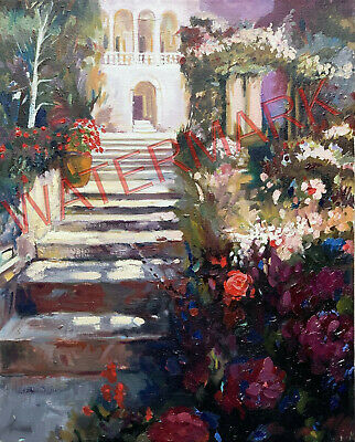 Original Painting of a colorful STAIRWAY, Beautiful colors, 16x20 by Jeff Schaub