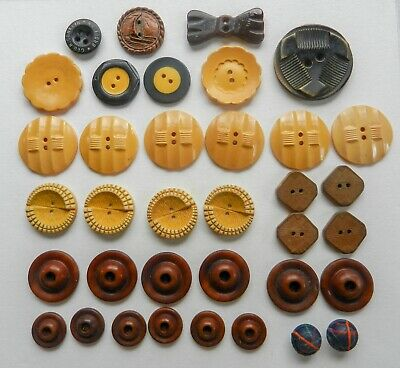 Variety Lot of Vintage Buttons Celluloid Bakelite Vegetable Ivory Wood Some Sets