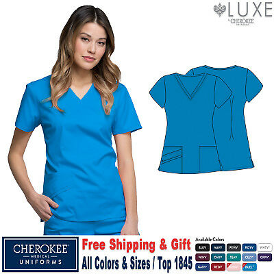 Cherokee Scrubs LUXE Medical Uniform Modern Classic Fit V-Neck Top_1845