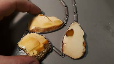 Natural Genuine Baltic Butterscotch Amber Royal White Necklace 72gr