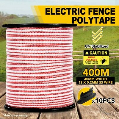 400M Polytape Electric Fence Stainless Steel Wire Energiser Insulator 40MM Width
