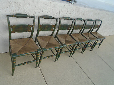 Authentic Vintage Hitchcock Rush Bottom Black Harvest Set of Six Chairs