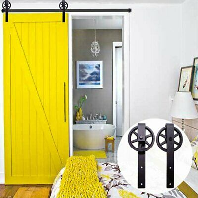 Modern Steel Rustic Wood Sliding Barn Door Track Hardware 6.6FT