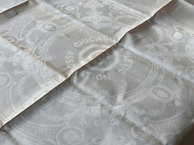 Antique Vtg Chicago Athletic Association Double Damask Irish Linen Tablecloth