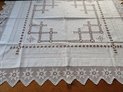"Antique Vtg ENGLISH TEA CLOTH Hand Drawnwork Crochet Lace Edge 44""square"