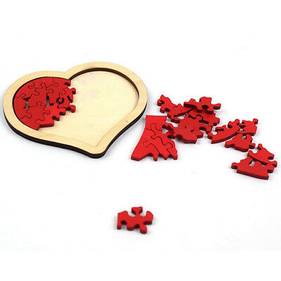 Wooden Heart Shaped Wedding Jigsaw Puzzle Toy Guestbook Guest Book Boho Z