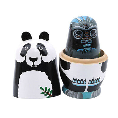 5Pcs Wooden Russian Nesting Dolls Matryoshka Hand Painted Animals Toy Gifts Z