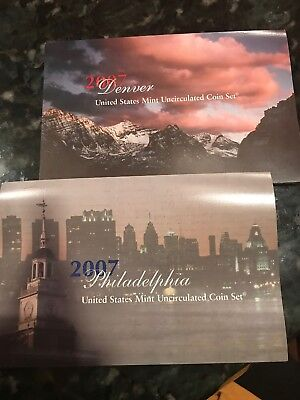 2007 United States Mint 28 Coins Uncirculated Denver And Philadelphia Sets COA