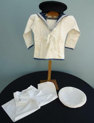 Antique Edwardian Navy Sailor Suit - Young Boys Naval Shirt Trousers & Cap c1910