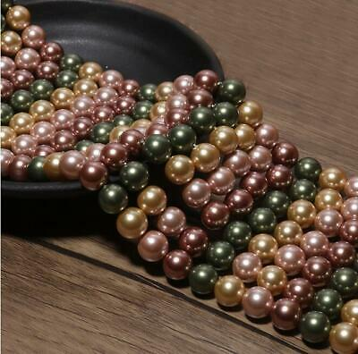 4/6mm/8mm/10/12mm Pretty Multicolor shell pearl  round loose beads long 15'' nj9