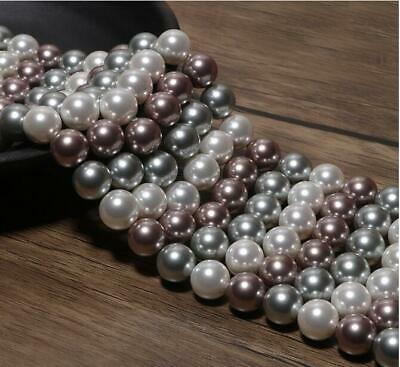 4/6mm/8mm/10mm Pretty Multicolor shell pearl  round loose beads long 15'' nj3