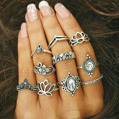 10pcs Set of Antique Silver Women Boho Fashion Moon Midi Finger Knuckle Rings