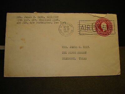 APO 29 GROHN, GERMANY 1945 WWII Army  Cover 29th Infantry Div Soldier's Mail