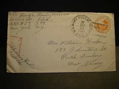 APO 39 DIJON, FRANCE 1944 Censored WWII Army Cover Service Co Soldier's Mail