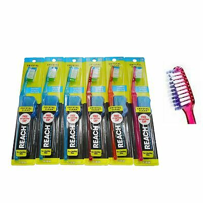 12 Piece Reach Toothbrush Full Head Crystal Clean FIRM Bristles with Cap Cover