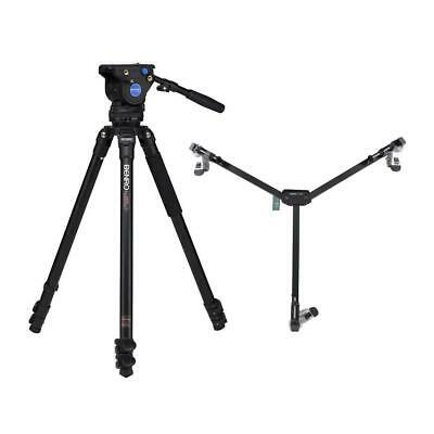 Benro KH26NL Video Tripod Kit with QR11 Video Quick-Release Plate 33.9 to 72 Height Range DL-08 Dolly Carrying Case BS07 Pan Bar Handle