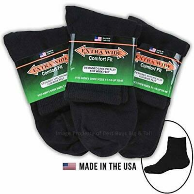 Big Tall Men's Extra Wide Socks Athletic Quarter Size 11-16 BLACK 3-Pack #1210