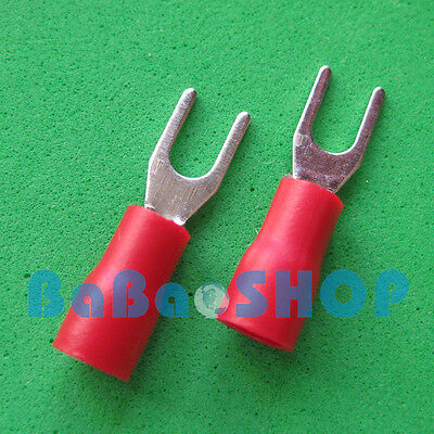 100pcs New Fork Terminal Crimp Spade Wire Connector, #4, 19AMP, 22~16AWG, Red