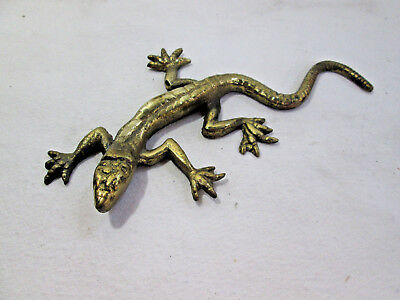 Solid Brass Paperweight Gecco Lizard Salamander 122mm Vintage Ornament Decor