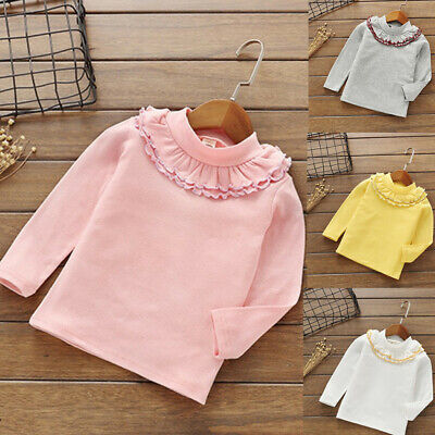 Todder Kids Baby Girls Solid Cotton Tops Ruffles Base Shirt T Shirt Clothes Tops