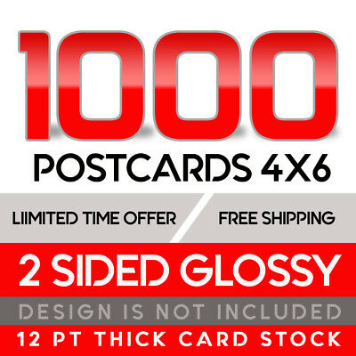 1000 Custom Full Color 4x6 14PT Postcards w/UV Glossy - Free Shipping