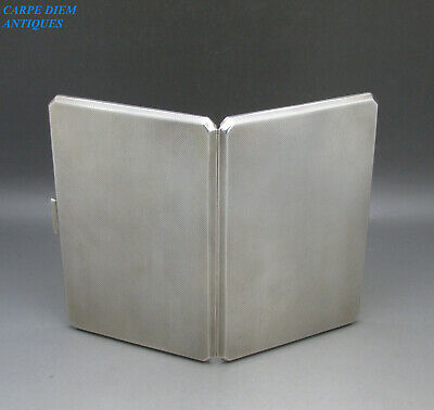 VINTAGE GOOD HEAVY SOLID STERLING SILVER CIGARETTE CASE BY G&S, 190g, BIRM 1950