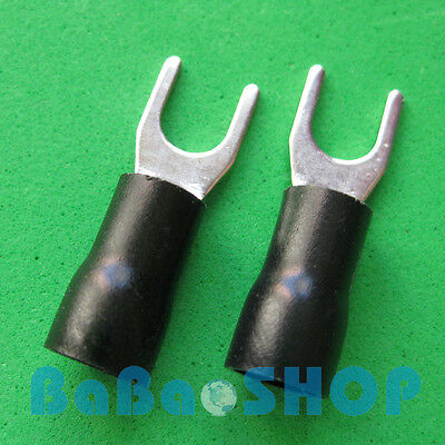 10pcs New Fork Terminal Crimp Spade Wire Connector, #10, 37AMP, 14~12AWG, Black
