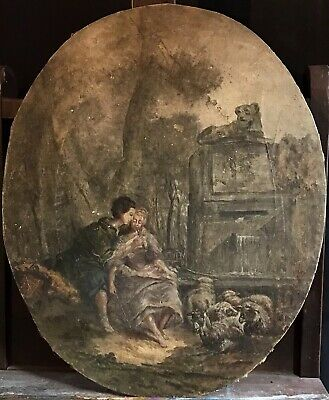 FINE 18/19th CENTURY FRENCH LARGE OVAL ROCOCO OIL - PASTORAL COURTSHIP SCENE