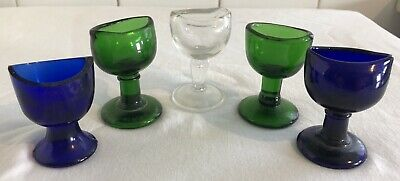 COLLECTION OF 5 x ANTIQUE GLASS EYE BATHS