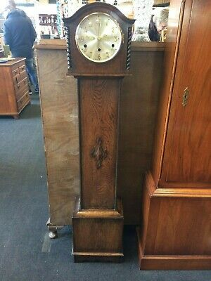 1930s Oak Case Grandmother Clock Converted To A Quartz Movement