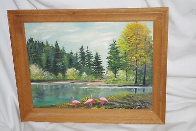 Vintage Woods Lake Pink Pelicans PAINTING Signed Busby on Board Framed Florida