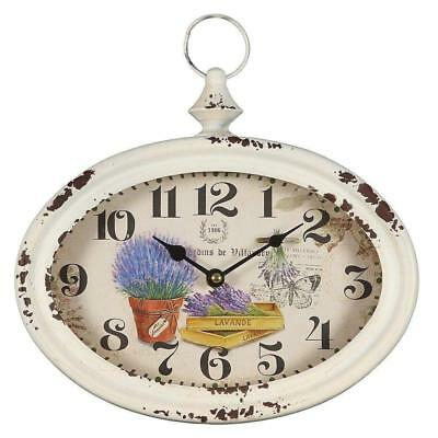 G1210: Rustical Country House Wall Clock in Metal Housing with Lavender, Garden