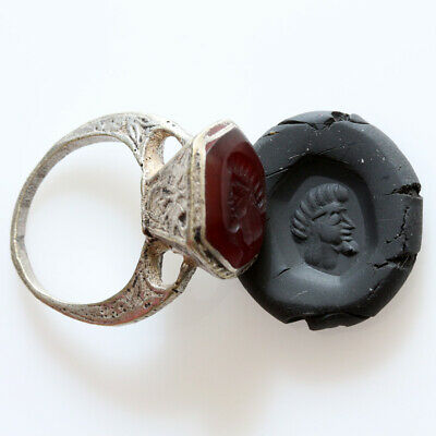 Intact Islamic Late Medieval Silver Plated Intaglio Seal Ring