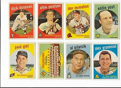 1959 Topps Baseball Pick Your Card Front And Back Scans Ex