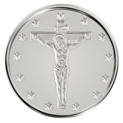 Religious Coin Token The Crucifixion of Jesus Fine Silver Medal 16 mm 1/10 oz