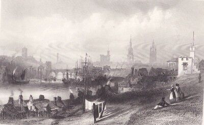 1847 Two Antique Prints - ENGLAND - River Tyne at Newcastle - Stoke Poges Church