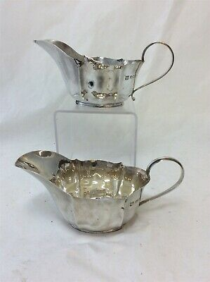 Antique Sterling Silver Sauce Jugs Pair London 1930s Fully Hallmarked