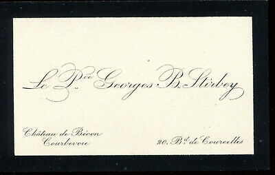 Cdv Carte De VisiteLe Prince Georges Barbu Stirbey Courbevoie Bd Courcelle