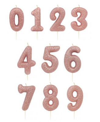 Rose Gold Glitter Age Number Candle Birthday Party Cake Topper Decoration Gift