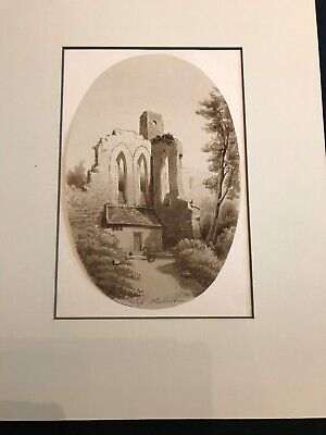 Antique Watercolor Painting 19th Century Gothic Ruins